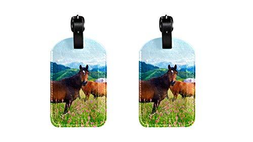 Pferd 038 Kofferanhänger Koffer Leder Gepäckanhänger 2 Stück Namensschild Adresse Tag Flugzeug Gepäckanhänger Visitenkartenhalter Kartenpaket 7x11.4cm