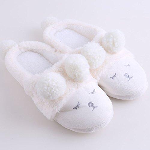 Yinew Schielen kleine Schafe Indoor Hause Baumwolle Hausschuhe Weiß 38-39