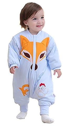 Chilsuessy Schlafsack Baby ganzjahres/ganzjährig Baby und Kleinkinder Schlafsack mit Füßen aus Baumwolle, Blau, L/Koerpergroesse 80-95cm