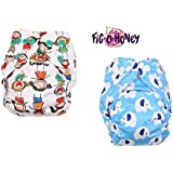 Fig-O-Honey Reusable New Born Baby Cloth Diapers   Multi-Color Baby Fabric Nappy With Free Absorbent Inserts   Washable And Elastic Printed Modern Cloth Nappies With Insert Liners   ( All Smiles & Elephant Print Combo )
