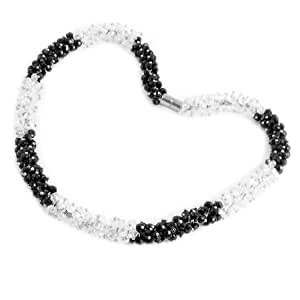 2-Color Plastic Beads Linked Magnetic Clasp Necklace for Women