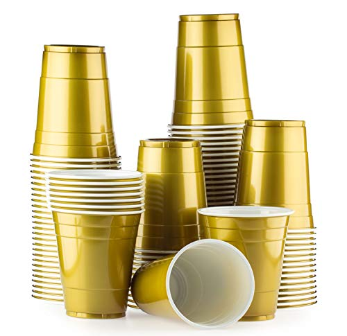 Red Celebration Gold Cups 100 Pack Golden bechern - Beer Pong American Party tassen Original 500 ml - mehrere Farben - Student & Geburtstag | 16oz Große Plastik Becher Trink Glas Einweg Geschirr -