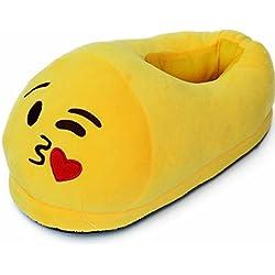 Emoji Size 3-5 Novedad Felpa Pantuflas niños niñas Damas para Hombres cómodos diversión Cheeky Llorando con Risa Ojos del corazón (Besos)