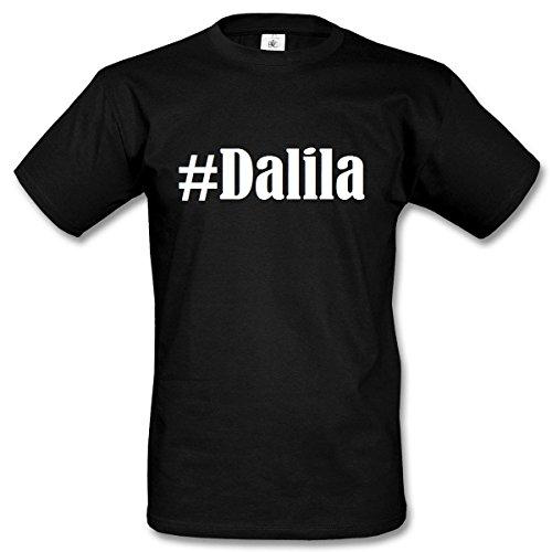 T-Shirt #Dalila Hashtag Raute für Damen Herren und Kinder ... in den Farben Schwarz und Weiss Schwarz