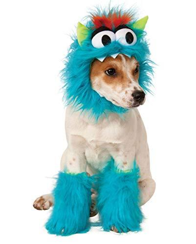Flauschige Kostüm Monster - Horror-Shop Blaues Monster Hundekostüm für Halloween M