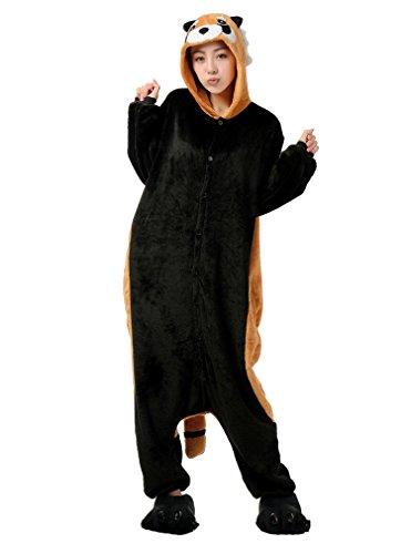 Honeystore Waschbär Siamesische Kleidung Pyjamas Unisex Erwachsene Halloween Cosplay Kostüm Party S (60's Kostümverleih)