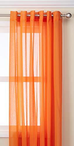 Deconovo Vorhang mit Ösen, Leinenoptik, für Schlafzimmer, 80 x 213 cm, Orange - 80 X 84 Panel