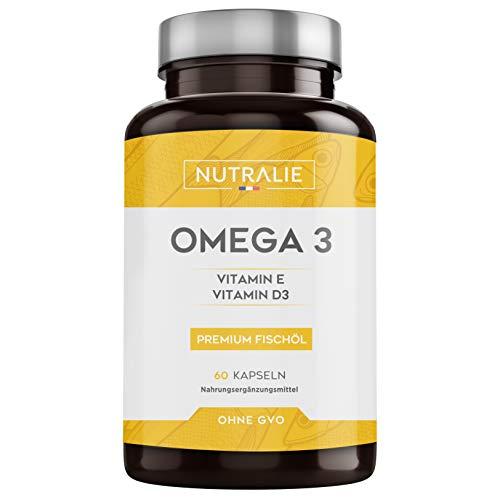 Omega 3   Fischöl Premium Qualität   900 mg EPA und 350 mg de DHA pro Dosis   Hochkonzentriert an Vitaminen E und D3   60 Kapseln   Nutralie