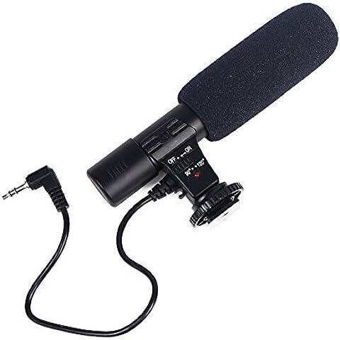 Microfono professionale per interviste per telecamera o News-01-Microfono Stereo per fotocamere Canon, Nikon, Pentax, Olympus, Panasonic, fotocamera digitale SLR con batteria