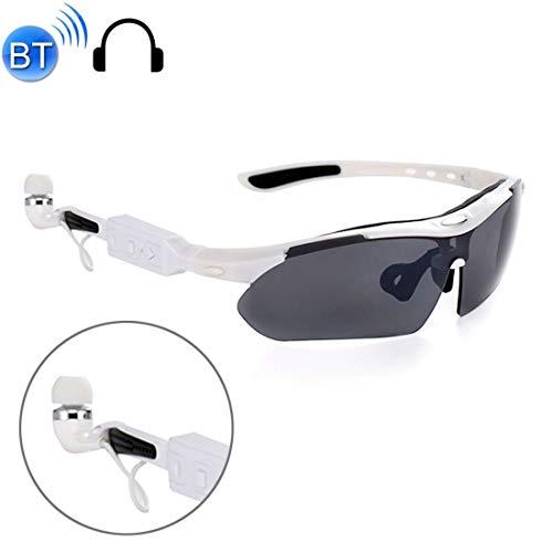 Y-WEIFENG Freisprecheinrichtung Bluetooth 4.1 Headset Stereo-Kopfhörer Sport polarisierte Sonnenbrille mit Box Brille (Farbe : Weiß)