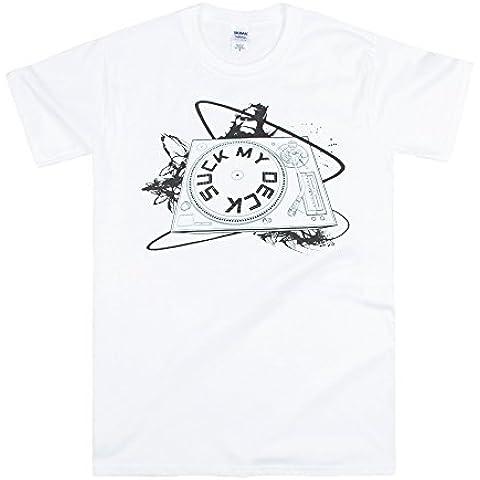 DJ, ponti,: Suck My Deck-Tavola per miscelazione-Maglietta Drum n Dubstep Bass, colore: bianco