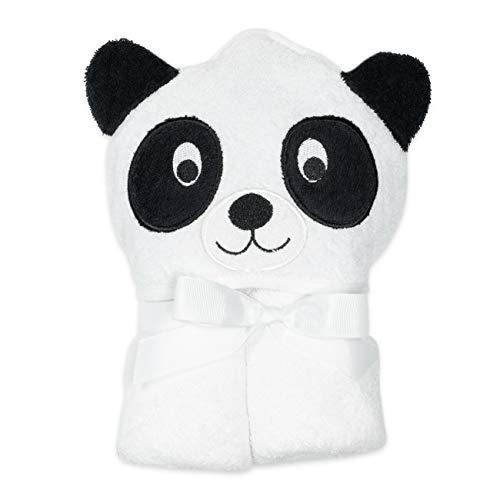 Soft Touch Baby Kapuzenhandtuch Unisex weiß schwarz | Motiv: Panda | Baby Handtuch mit Kapuze für Neugeborene & Kleinkinder | Einheitsgröße