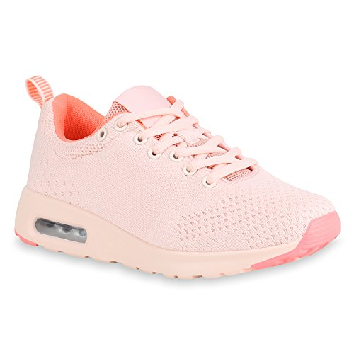 SCARPE VITA Damen Schuhe Sportschuhe Laufschuhe Strick Profilsohle Turnschuhe Sneaker 155191 Rosa 39