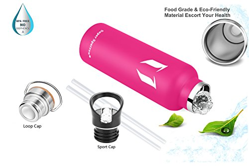 Super Sparrow Stainless Steel Vacuum Insulated Water Bottle, Double Wall Design,Standard Mouth – 500ml & 750ml & 1000ml – Eco Friendly & BPA Free – For Running, Gym, Yoga,Cycling, Outdoors and Camping, Car – Ideal as Sports Water Bottle – with 2 Exchangeable Caps (Rose Red, 750ml-25oz)