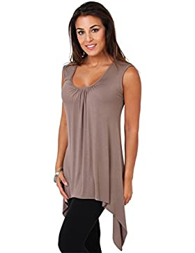 KRISP Camiseta Mujer Talla Grande Verano Básica Holgada Irregular Top