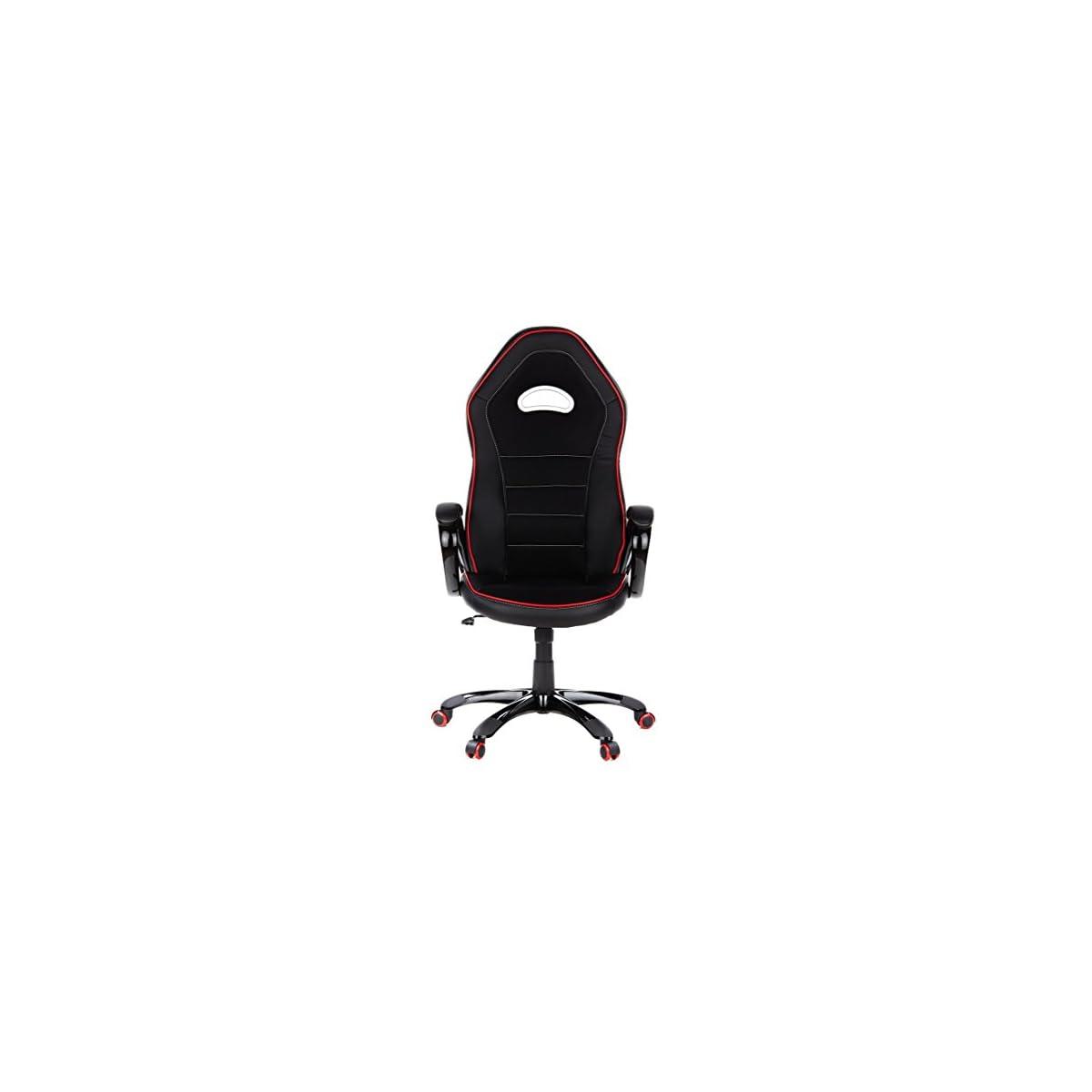 41CPY%2BWh oL. SS1200  - hjh OFFICE - 621720 silla gaming PACE 100 piel sintética negro/rojo, cómodo, con apoyabrazos acolchados, elegante base negra, inclinable, respaldo alto, silla racing, silla oficina, silla giratoria