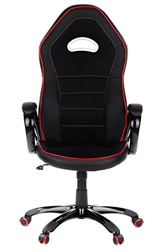 HJH Office – 621720 silla gaming PACE 100 piel sintética negro / rojo, cómodo, con apoyabrazos acolchados, elegante base negra, inclinable, respaldo alto, silla racing, silla oficina, silla giratoria