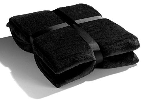 heimtexland riesige XXL Kuscheldecke für Zwei HxB 220x240 cm Pärchen Decke in schwarz super weich - kuschelig warm - leicht - fusselfrei in TOP QUALITÄT...Typ189