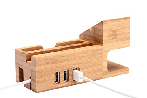 Ofeely Apple Watch Bamboo Wood Charging Stand with 3 USB Port Charging Mount Holder Bamboo Wood Stand for Apple Watch iphone 4S 5 5S 6 6 Plus (stand with 3 usb port)