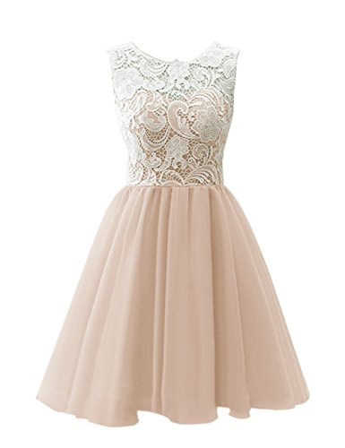 KekeHouse® A-Linie Kurz Spitze Tüll ärmellos Abendkleid Ballkleid Tanzabend Brautjungfernkleid Champagner 34 (Tüll-kreis Gold)