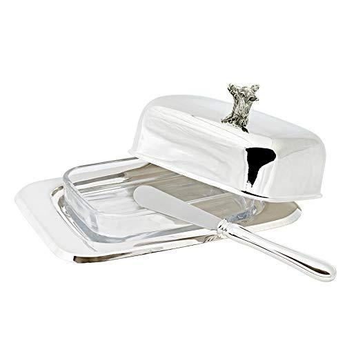 Edzard Boîte à Beurre verrat pour 250 grammes de Beurre, 13 x 18 cm, Hauteur 8 cm, argenté Noble, Poli Brillant, avec Fentes en Verre, y Compris Couteau à Beurre Assorti