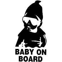 PRESKIN - Aufkleber BABY ON BOARD , Sticker, Decal, reflektierend, für Auto, Fenster, Türen (BabystickerBlack)