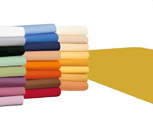 badtex24 Spannbettlaken 90 100 x 200 Spannbetttuch Bettlaken Jersey 100% Baumwolle 20 Farben Maisgelb 90x190-100x200cm