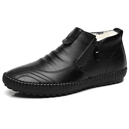 Fahrschuhe Männer, die Müßiggänger for gehende Schuhe fahren, ziehen auf Art-seitlichen Reißverschluss-echtes Leder-super weiche vegane flache Wärme-rutschfeste Vlies-gezeichnete Schuhe an -