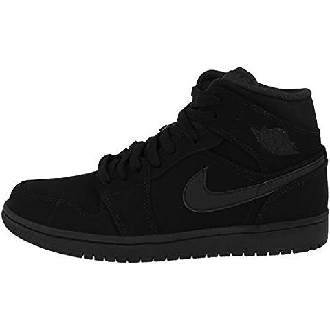 Nike Schuhe Air Jordan 1 MID Herren black-white-black (554724-040), 48,5, schwarz (Nike Jordan 1 Mid)