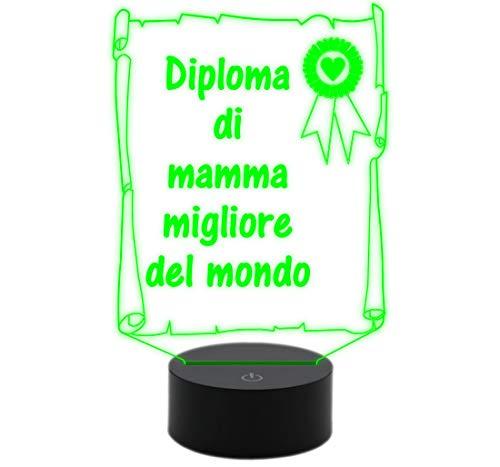 Generico Diploma con diana Madre Mejor Del Mundo lámpara 7colores el día de la madre idea regalo original y creativa decoración de la casa