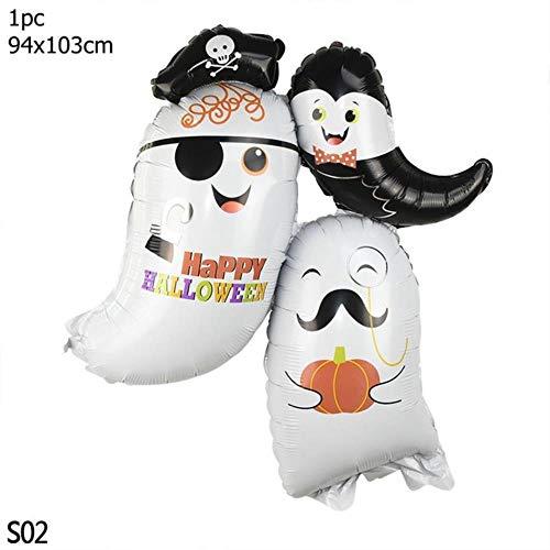 CTOBB Happy Halloween Folienballon Kürbis-Geist-Schläger-Schädel-Form-Ballone Dekoration Halloween-Party-Bevorzugung Inflatable Versorgung 8, Farbe, S02 (Jack Kürbis König Kostüm)