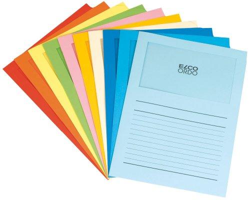 Elco Ordo Classico Organisationsmappen mit Sichtfenster 120 g/m² 10 Farben sortiert 10 Papiermappen (220 x 310 mm) mit Aufdruck und Fenster, 180 x 100 mm, Karton mit 100 Stück