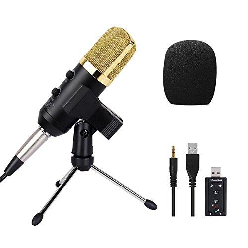 Tonor Studio Kondensator-Mikrofon mit 3.5mm Plug+Halter+Windschutz Schaumhülle für Broadcast Gesang Netzwerk Singen und Aufnahme mit Musikinstrumenten Schwarz