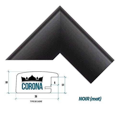 Cadre photo 'CORONA' 50 x 61 cm - Noir (mat) - 7 Couleurs - Noir, Blanc, Hêtre, Brun foncé, Alu...