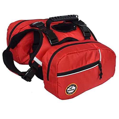 Hund Rucksack Pet Vest Satteltasche Harness Hound Wandern Gear, reflektierende Sicherheit Verstellbare Satteltasche Outdoor Camping Reise Zubehör mit 2 herausnehmbaren Packungen