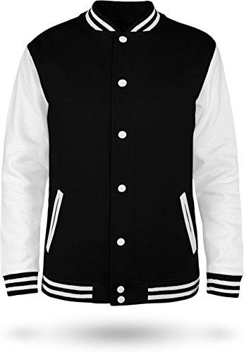 normani Kinder College Jacke für Jungen und Mädchen mit Ärmeln in Kontrastfarben Farbe Black/White Größe 9-10 (140) - Jacke 10 Größe Jungen