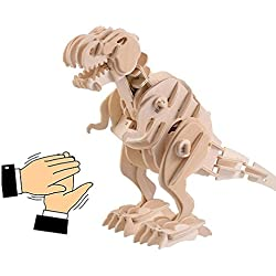 Robot de simulación 3D animal de madera modelo de ensamblaje dinosaurio rompecabezas para mover y bloques de construcción de juguete rugido para niños y adultos, Tiranosaurio, Control de sonido, una buena y divertida de Navidad