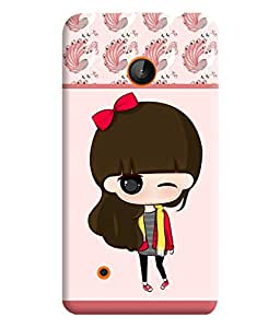 PrintVisa Cute Cartoon Art Print & Pattern Girl 3D Hard Polycarbonate Designer Back Case Cover for Nokia Lumia 530