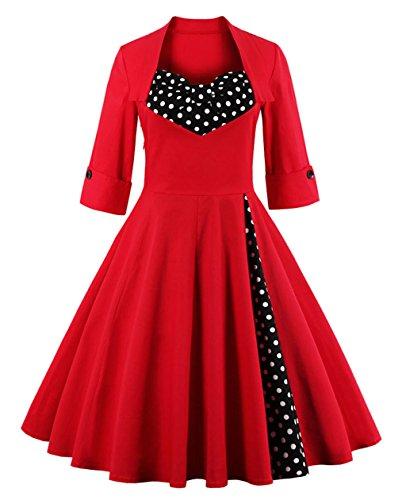 Robes de soirée 50s, VERNASSA Vintage 3/4 Sleeve Audrey Retro Belted Retro 1950's Casual Party Evening Cocktail Rockailly Swing Dress, Multicolor, S-4XL 1323-Points rouges