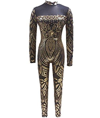 lle Sequin Jumpsuit Retro Tätowierung Druck Verein-Cocktailparty-Spielanzug Bodysuit Sehen Sie durch , gold , m ()