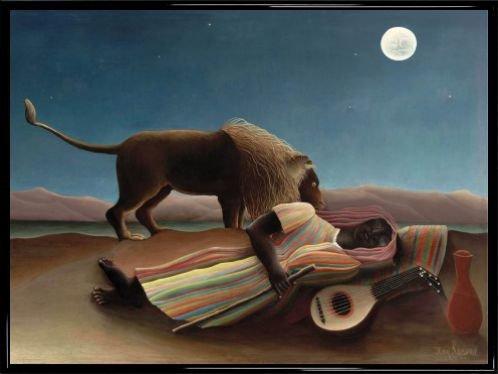 Henri Rousseau Poster Kunstdruck und Kunststoff-Rahmen - Die Schlafende Zigeunerin, 1897 (80 x 60cm) -