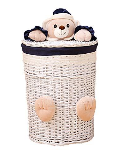 Ablagekorb Ablagekorb Korb Schmutzige Kleidung Rattan Überdachter Wäschekorb Bad Bad Kleidung Spielzeug Finishing Kreativer Ablagekorb (Size : M) -
