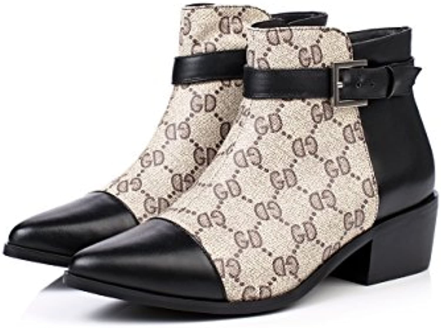 965662aa43ef Women s Low Heel Pointed Toe Ankle Buckle Print Leather Dress Dress Dress  Boots (5.5 US