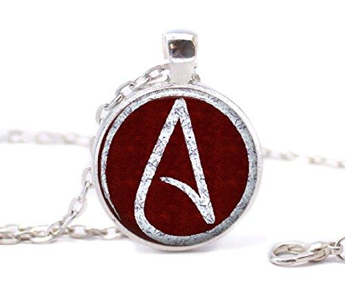 Atheist Logo, Wein Rot und Weiß Anhänger
