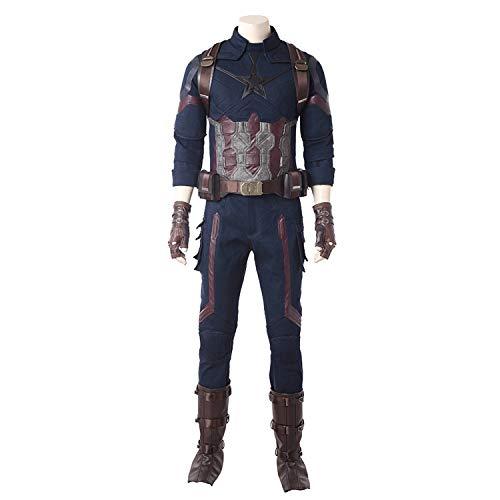 QWEASZER Marvel Avengers Captain America Kostüm Herren Superheld Kostüm Body Onesies Tops, Hosen, Handschuhe, Westen, Halloween Cosplay Kostüm Requisiten Deluxe - Superhelden Kostüm Bodys