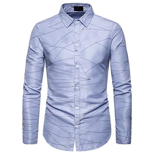 DNOQNLongsleeve Herren V Ausschnitt Poloshirt Baumwolle Printd Taste Slim Fit Abdrehen Halsband Langärmliges Oberteil Bluse Shirt S (Die Bluse - Taste Durch)