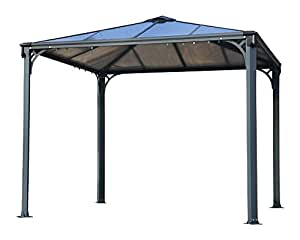 palram palermo gazebo 3000 gartenpavillon grau 295 x 295 x 276 cm garten. Black Bedroom Furniture Sets. Home Design Ideas