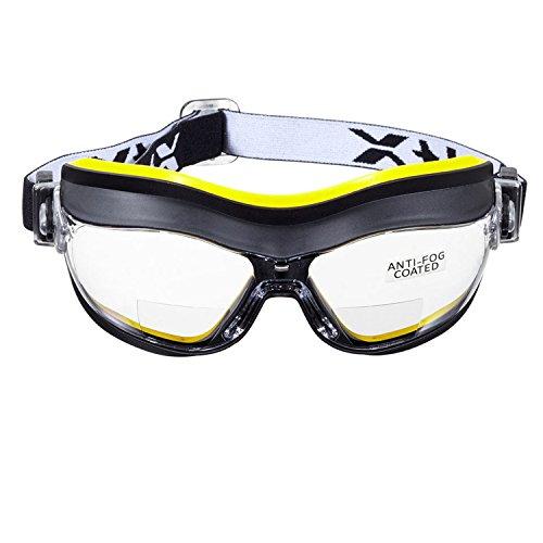 voltX Defender Kompact BIFOKALE Belüftet Schutzbrille (KLAR +2.0 Dioptrie), CE EN166FT Zertifiziert, Anti-Beschlag Beschichtung - Compact Bifocal Safety Goggles