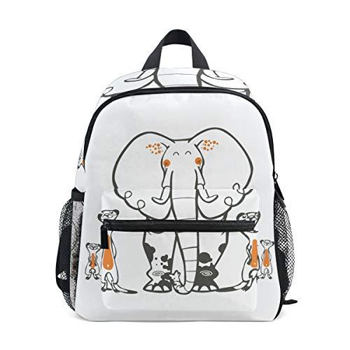 Mochila para niños Elefante y ratón Bolsa de Preescolar de jardín de Infantes para niños de niñas pequeñas