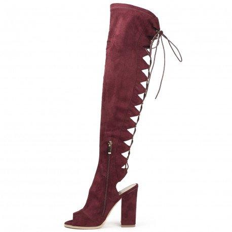 Ideal Shoes - Cuissardes peep toe effet daim à lacets Daline Bordeaux